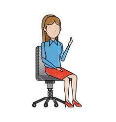 business woman person sitting office chair vector image
