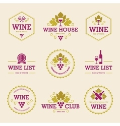 Colored Wine Labels and Badges vector image vector image
