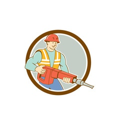 Construction worker jackhammer circle cartoon vector
