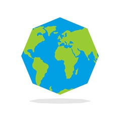 Octagon Planta earth World map in geometric figure vector image