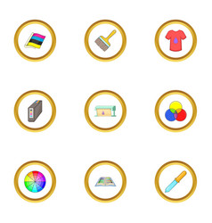 printing polygraphy icons set cartoon style vector image vector image