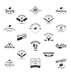 set of retro styled butchery logo templates vector image