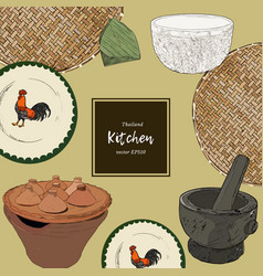 thai style asian cookware sketch vector image