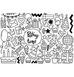 0092 hand drawn party doodle happy birthday vector