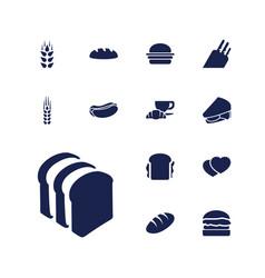 13 bread icons vector