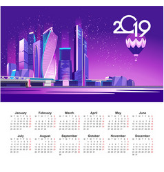 2019 moscow city calendar vector image