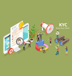 3d isometric flat concept kyc - know vector
