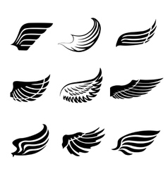 Abstract feather wings icons set vector image