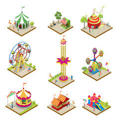 Amusement park isometric 3d elements vector
