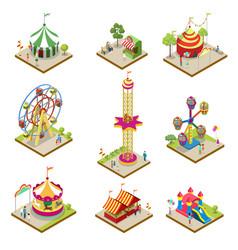 Amusement park isometric 3d elements vector