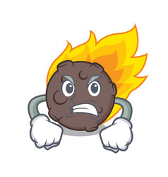 Angry meteorite mascot cartoon style vector