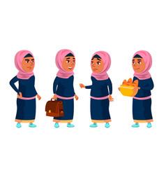 Arab muslim girl school girl kid poses set vector
