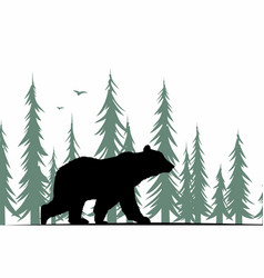 Bear silhouette with forest vector