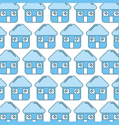 Blue house with door roof and windows background vector