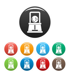 Bowling ball icons set color vector