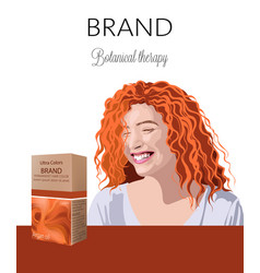 Box with cosmetics for hair with place for text vector