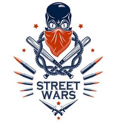 brutal gangster emblem or logo with aggressive vector image
