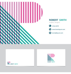 Business card template with a letter r vector