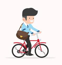 Businessman cycling to work cartoon vector