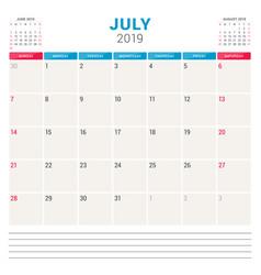 Calendar planner for july 2019 week starts on vector