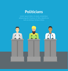 cartoon different nationalities politicians card vector image