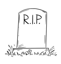 Cartoon drawing of tombstone with rip or rest in vector