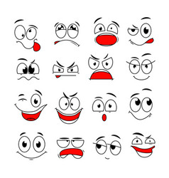 cartoon face expression funny comic eyes and vector image