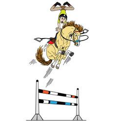 cartoon high equestrian jump vector image