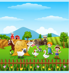 Cartoon little farmers with animals at the farm vector