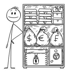 Cartoon rich or wealthy man with stockpile vector