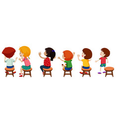 Children sitting on chairs vector
