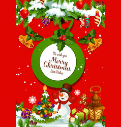 christmas tree with gift and snowman greeting card vector image