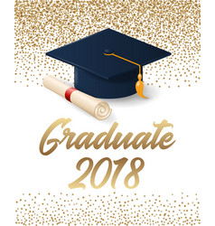 Class of 2018 graduation poster with hat and vector