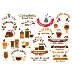Coffee and desserts icons for cafe signboards vector