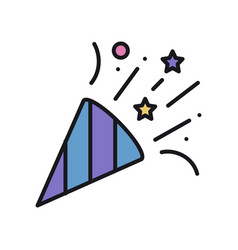 Confetti icon with falling tiny pieces party vector