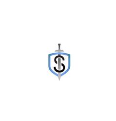 creative shield letter s sword logo symbol design vector image
