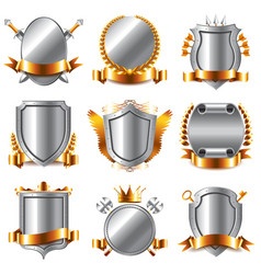 crests and coat arms icons set vector image