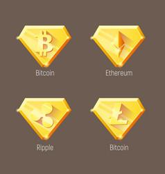 cripto currency logo diamonds set vector image