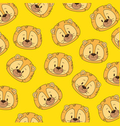 cute and little lion heads pattern vector image