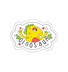 Dinosaur patch badge cute cartoon yellow animal vector