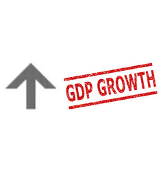 Distress gdp growth seal stamp and halftone dotted vector