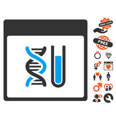 Dna analysis calendar page icon with valentine vector