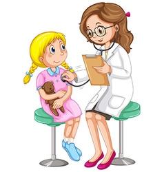 Doctor examining little girl vector