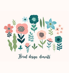 floral design elements leaves flowers vector image