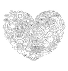 flowers in heart shape vector image
