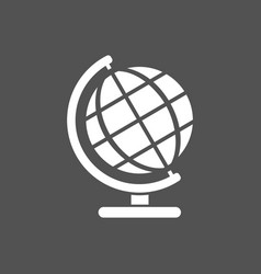 Globe icon on a dark background vector