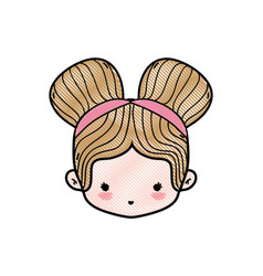 Grated girl head with two buns hair design vector