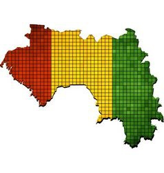 Guinea map with flag inside vector image