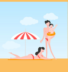 happy family on sea resort vector image
