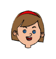 Happy girl face character female young vector